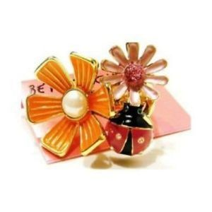 Betsey Johnson Ring Flower Pearl Lady bug Gold 7